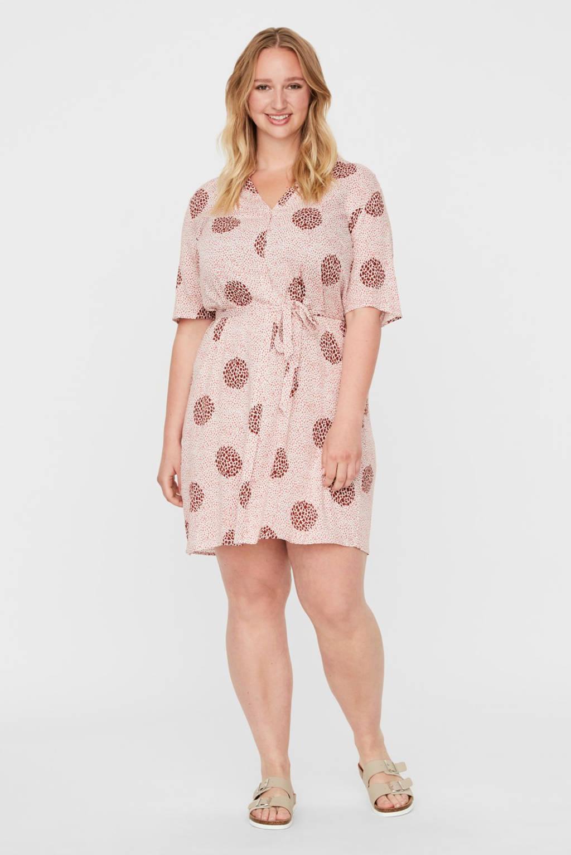 JUNAROSE jurk met all over print lichtroze, Lichtroze