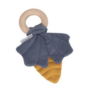 houten ring blaadje geel/blauw