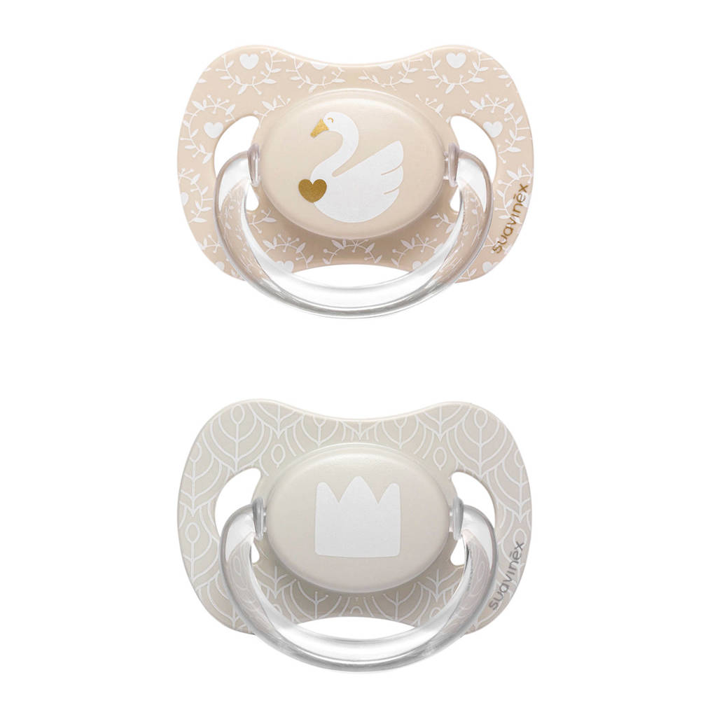 Suavinex Swan fopspeen silicone 0-4 mnd - set van 2 zwaan + kroon, Beige/grijs