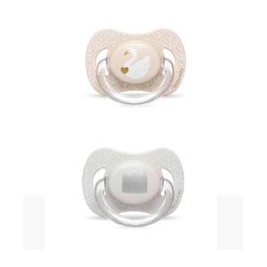 Swan fopspeen silicone 4-18 mnd - set van 2 zwaan + kroon beige
