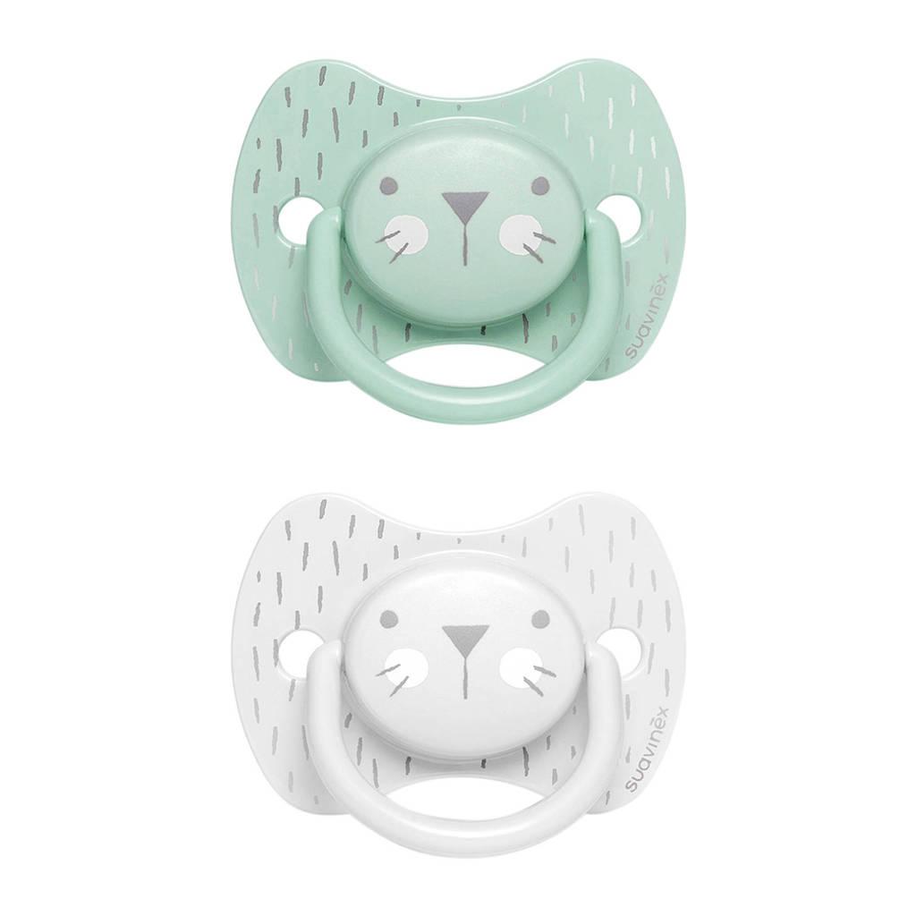 Suavinex Hygge fopspeen silicone Physio +18 mnd - set van 2 Whiskers groen/grijs, Groen/grijs