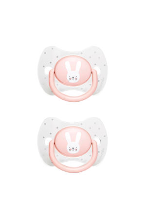 Hygge fopspeen silicone Physio 0-6 mnd - set van 2 Rabbits roze