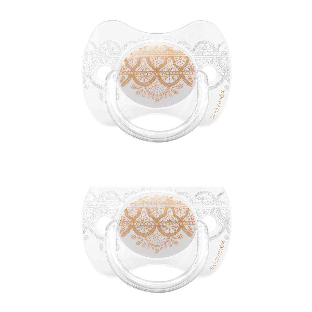 Suavinex Couture fopspeen silicone Grey 0-4 mnd - set van 2, Wit/goud