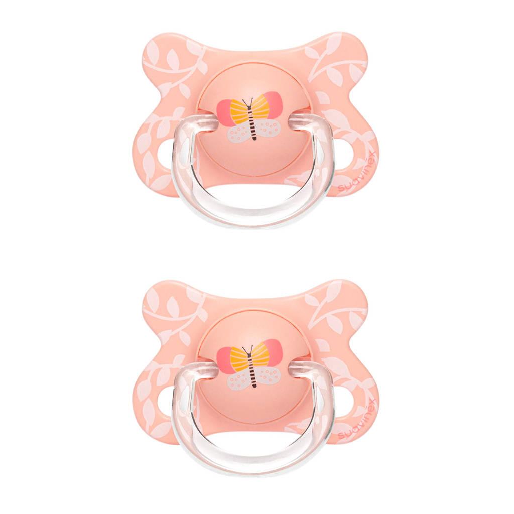 Suavinex Fusion fopspeen latex 0-4 mnd Butterfly - set van 2 roze, Roze