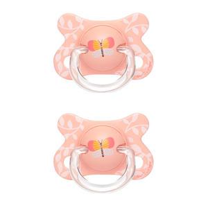 Fusion fopspeen latex 0-4 mnd Butterfly - set van 2 roze