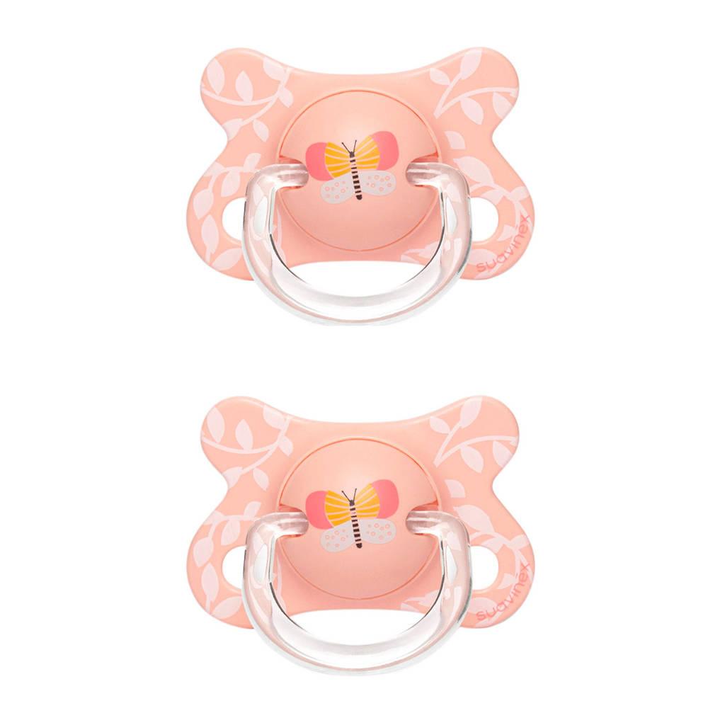 Suavinex Fusion fopspeen silicone 0-4 mnd Butterfly - set van 2 roze, Roze