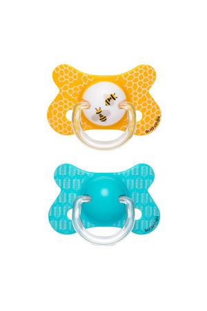 Fusion fopspeen latex +18 mnd Bee - set van 2 blauw/geel