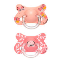Suavinex Fusion fopspeen latex +18 mnd Butterflies - set van 2 roze, Roze