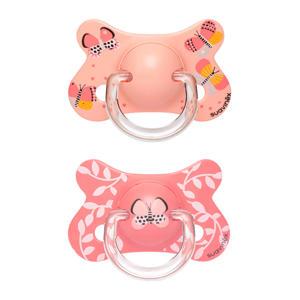 Fusion fopspeen latex +18 mnd Butterflies - set van 2 roze