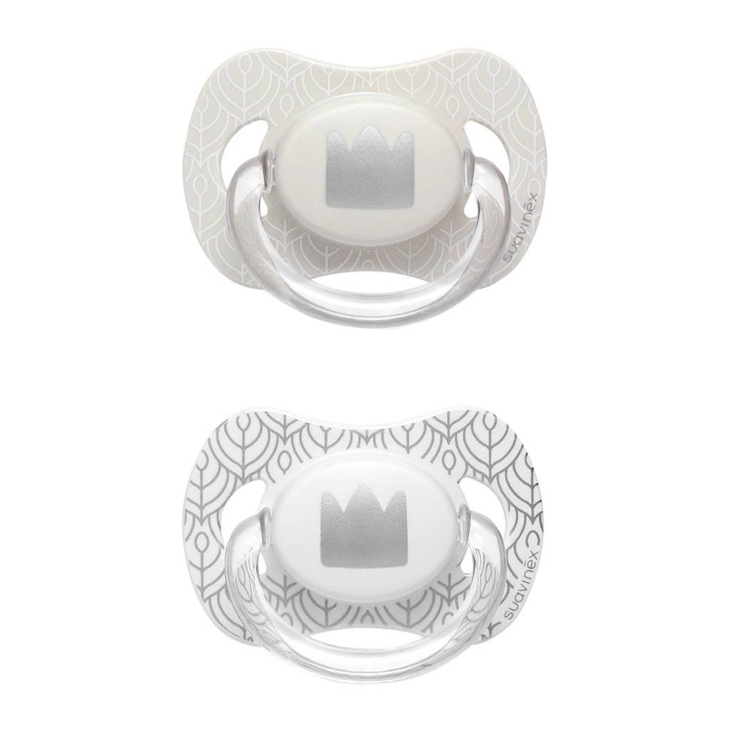 Suavinex Swan fopspeen silicone 4-18 mnd - set van 2 kroon beige + zilver, Beige/zilver