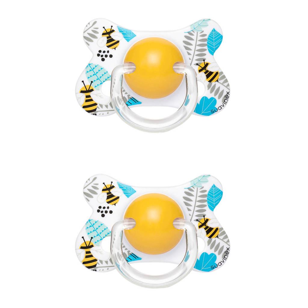Suavinex Fusion fopspeen latex 4-18 mnd Bee - set van 2 geel/wit, Geel/wit