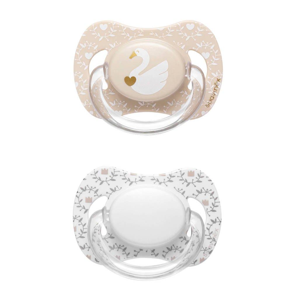 Suavinex Swan fopspeen silicone 0-4 mnd - set van 2 zwaan + bloem, Beige/wit