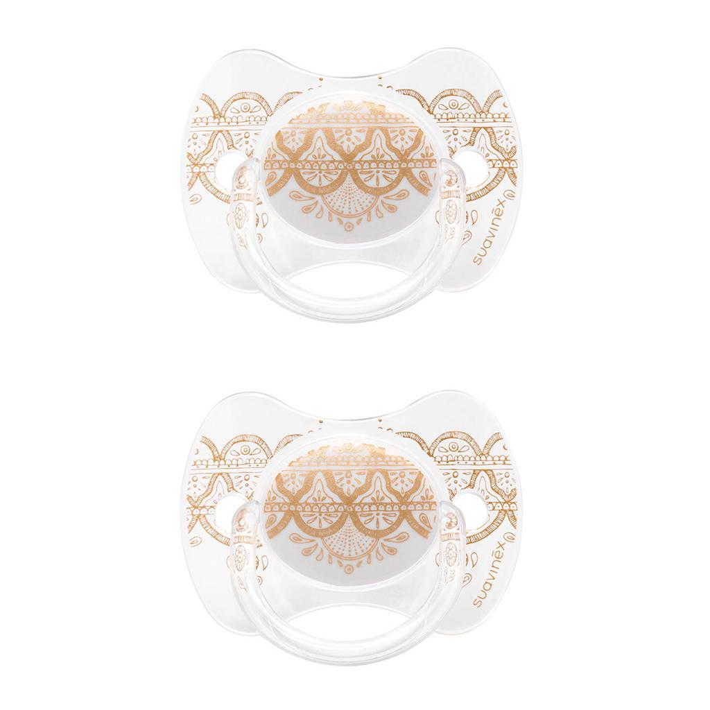Suavinex Couture fopspeen silicone 4-18 mnd Grey  - set van 2, Wit/goud