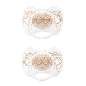 Couture fopspeen silicone 4-18 mnd Grey  - set van 2