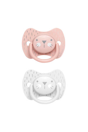 Hygge fopspeen silicone Physio +18 mnd - set van 2 Whiskers roze/grijs