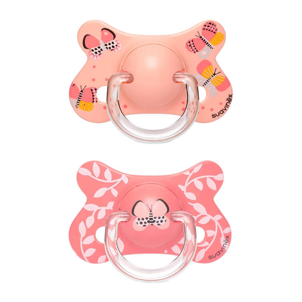 Suavinex Fusion silicone fopspeen +18 mnd Butterflies - set van 2 roze, Roze
