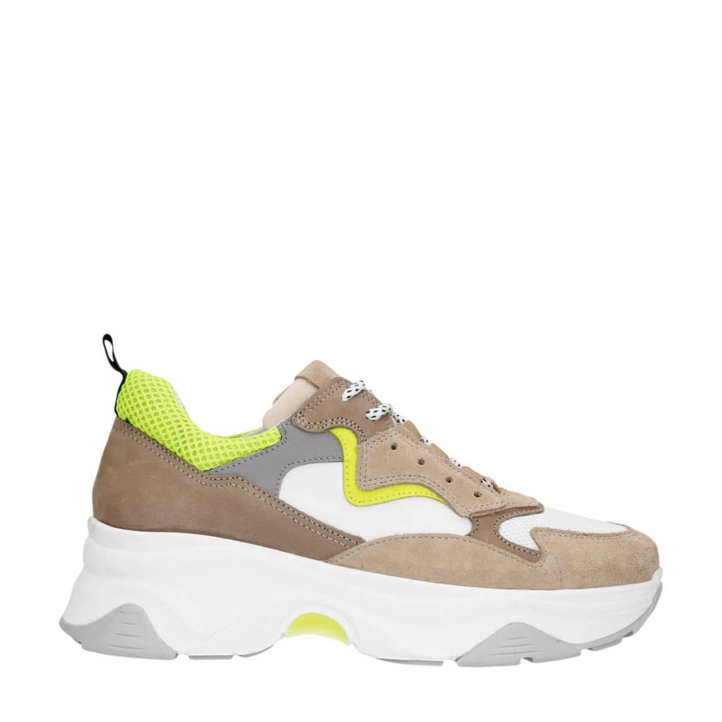 Sacha   suède chunky dad sneakers beige, Beige/groen