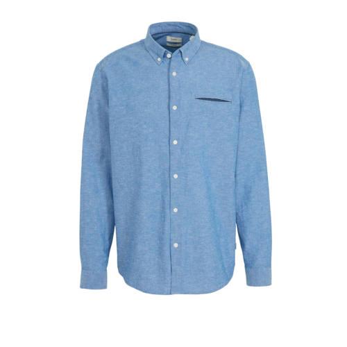 ESPRIT Men Casual slim fit overhemd blauw