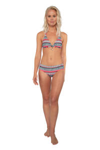 Protest halter bikinitop Tyra met all over print zwart/roze, Zwart/roze