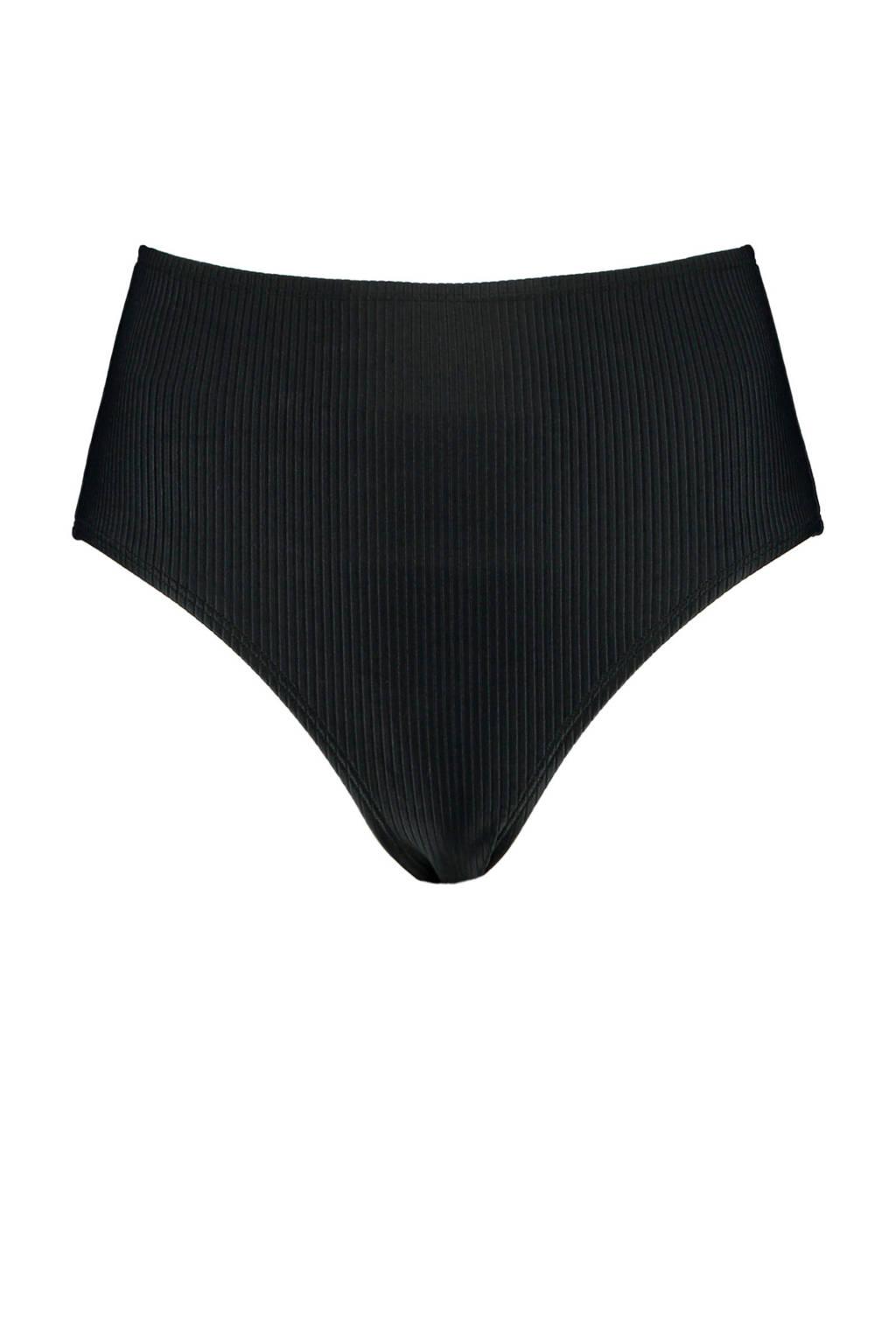 America Today high waist brazilian bikinibroekje Apua met rib structuur zwart, Zwart