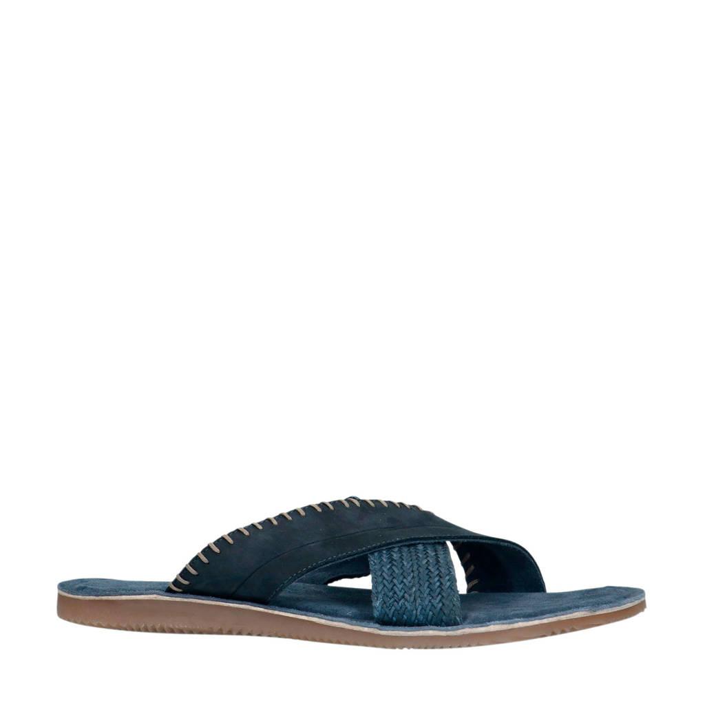 Sacha   nubuck slippers blauw, Blauw