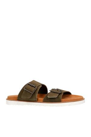 suède slippers olijfgroen