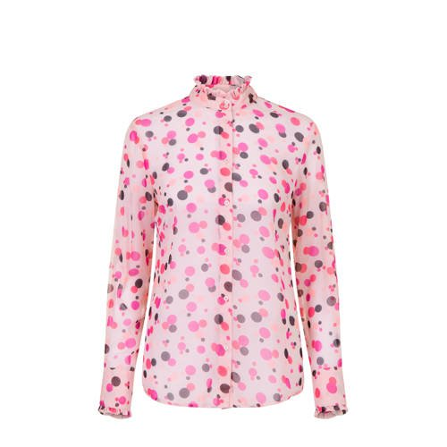 PROMISS blouse met all over print en ruches roze