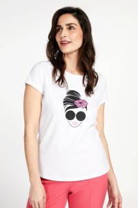 PROMISS T-shirt met printopdruk wit, Wit