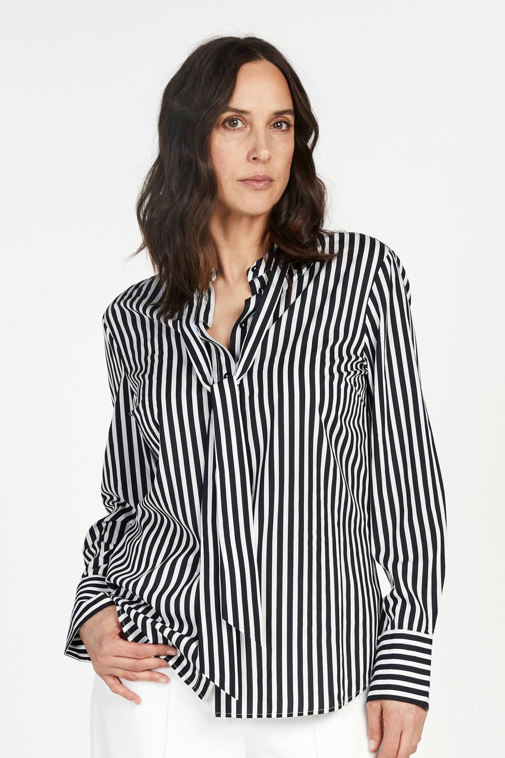 PROMISS gestreepte blouse zwart, Zwart
