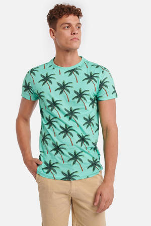 T-shirt met bladprint blauw/groen