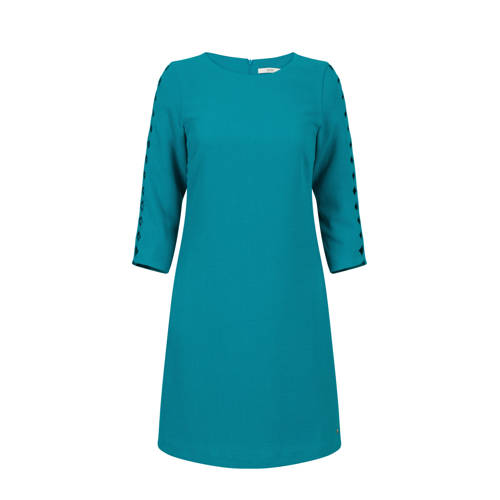 Steps jersey jurk met open detail turquoise