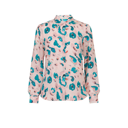 Steps blouse met all over print oudroze/blauw