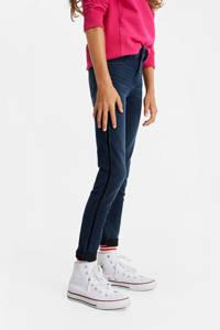 WE Fashion Blue Ridge super skinny jeans met zijstreep dark denim, Dark denim
