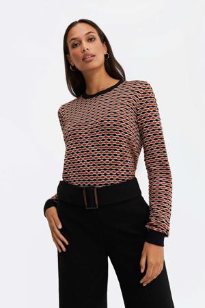 fijngebreide trui met all over print zwart