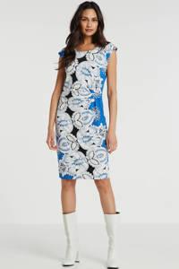 Smashed Lemon jersey jurk met all over print en plooien blauw/multi, Blauw/multi