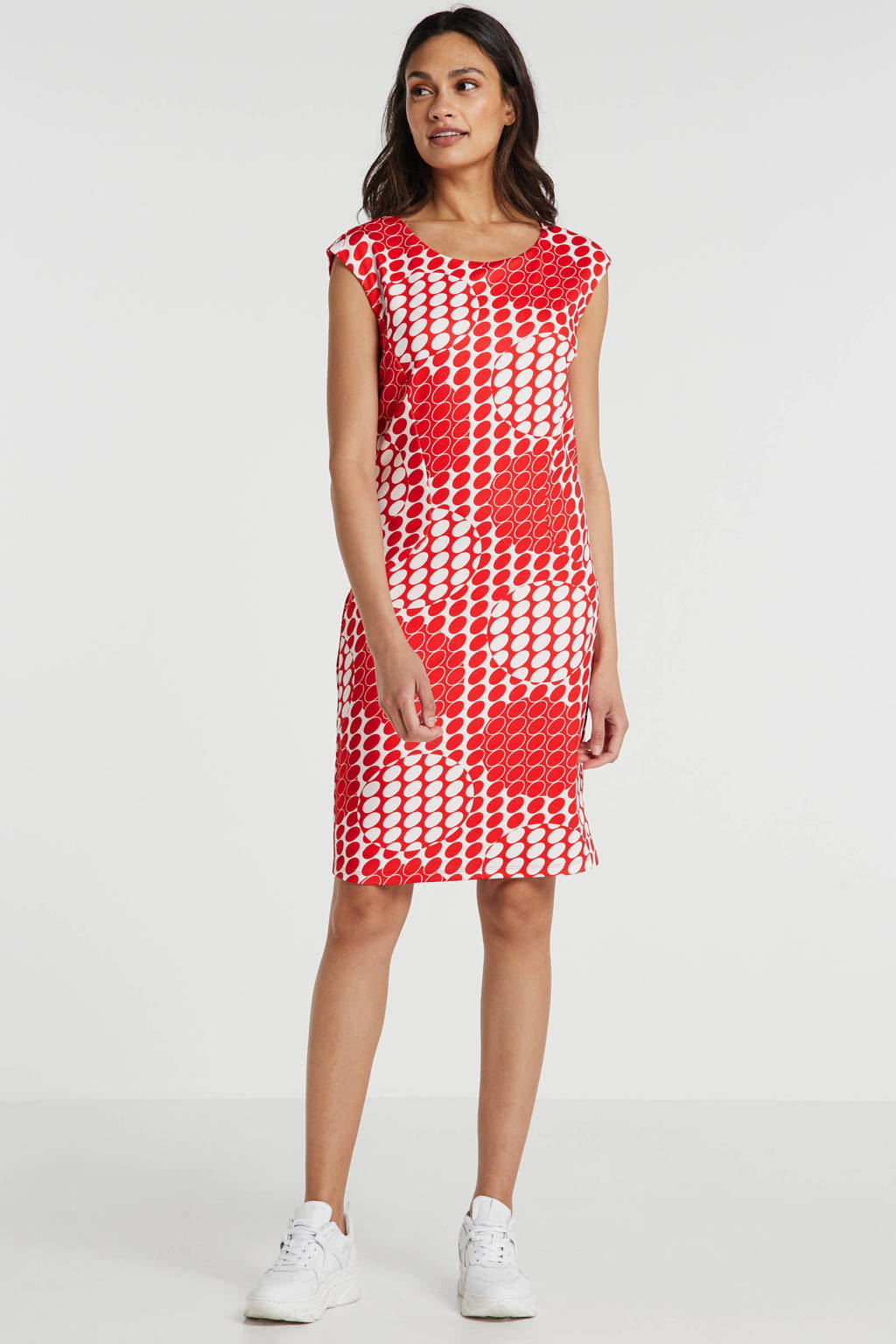 Smashed Lemon jersey jurk met all over print en plooien rood/wit, Rood/wit