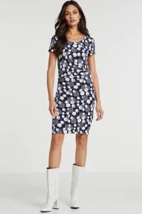 Smashed Lemon jersey jurk met stippen en plooien donkerblauw, Donkerblauw