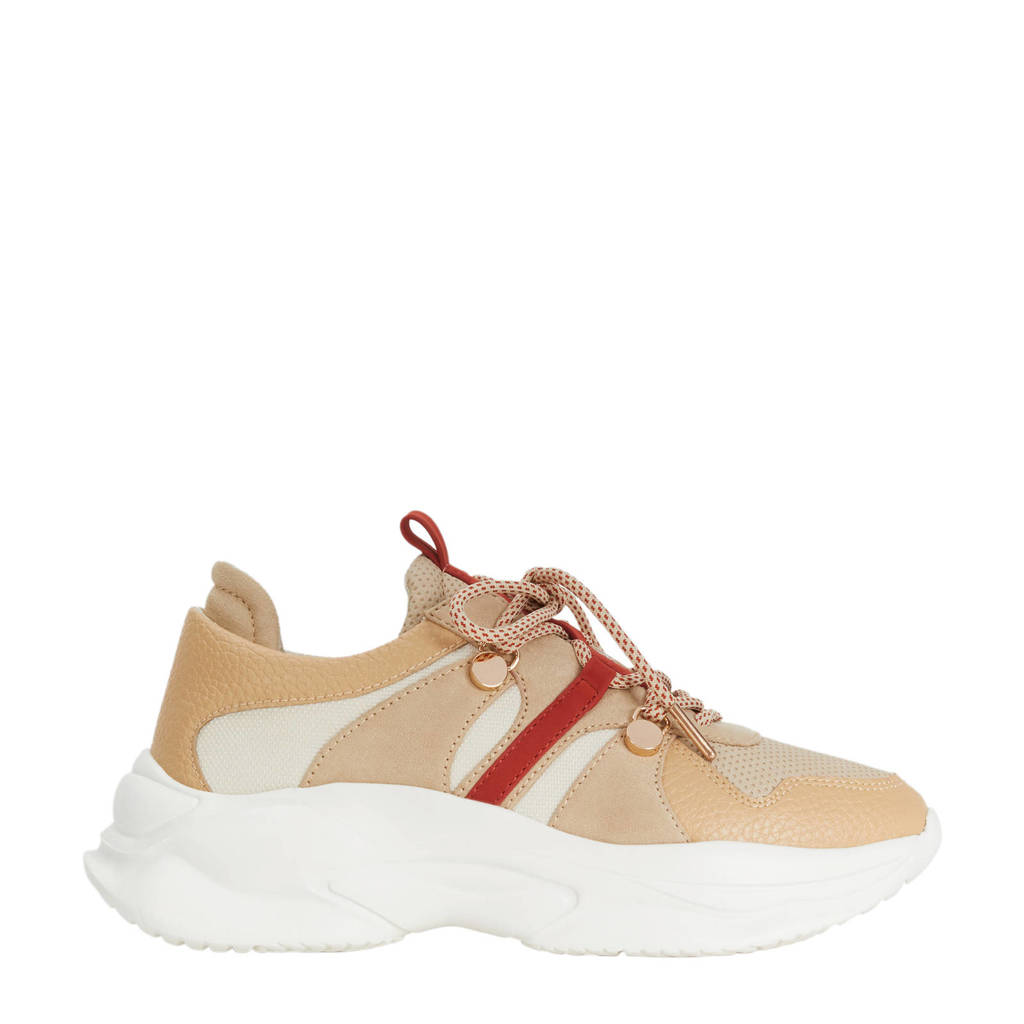 Parfois   chunky sneakers beige/rood, Beige/rood