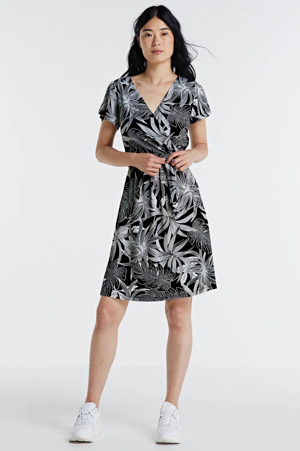 Smashed Lemon jurk met bladprint zwart/wit, Zwart/wit