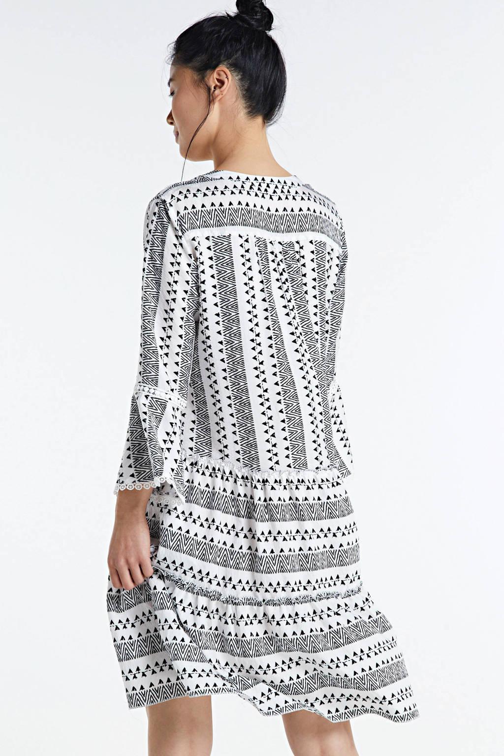 Smashed Lemon jurk met all over print en borduursels wit/zwart, Wit/zwart