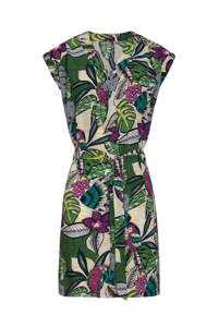 Smashed Lemon jersey jurk met bladprint groen/multi, Groen/multi