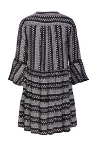 Smashed Lemon jurk met all over print en volant zwart/wit, Zwart/wit