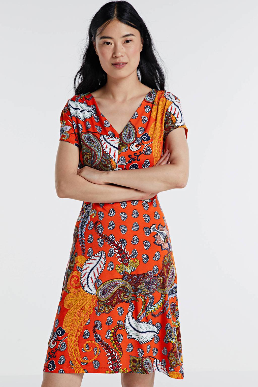Smashed Lemon A-lijn jurk met paisleyprint rood/multi, Rood/multi