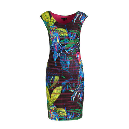 Smashed Lemon jurk met all over print donkerblauw/