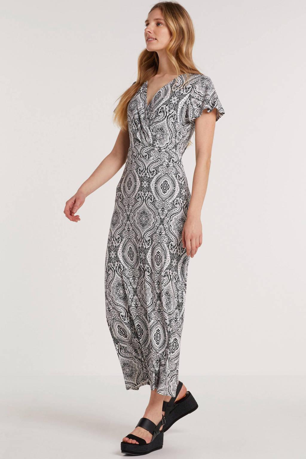 Smashed Lemon maxi jurk met all over print zwart/wit, Zwart/wit