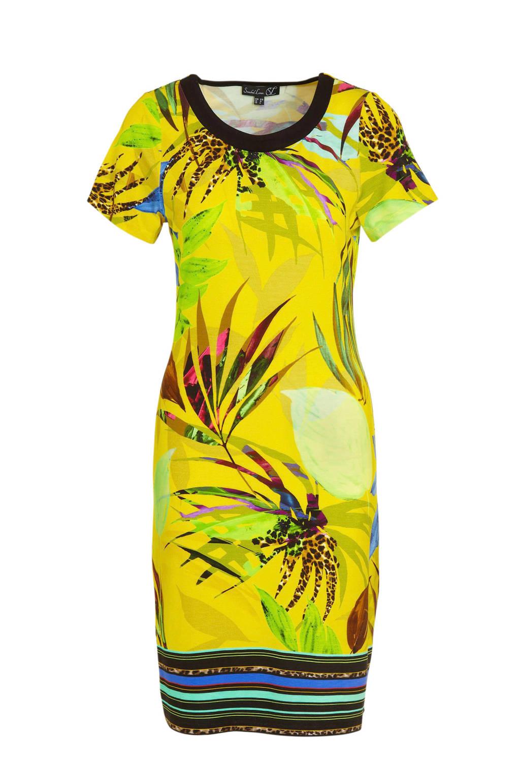 Smashed Lemon jersey jurk met bladprint geel/multi, Geel/multi