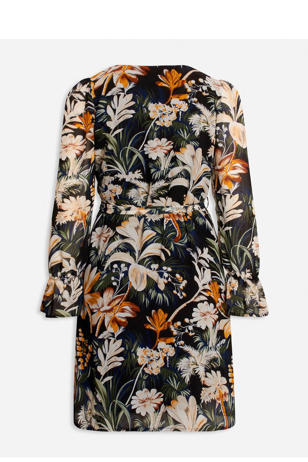 SisterS Point gebloemde semi-transparante jurk NOKI-DR13 zwart/multi, Zwart/multi