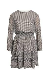 SisterS Point jurk Nicoline met pied-de-poule en volant zwart/wit, Zwart/wit