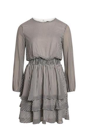jurk Nicoline met pied-de-poule en volant zwart/wit