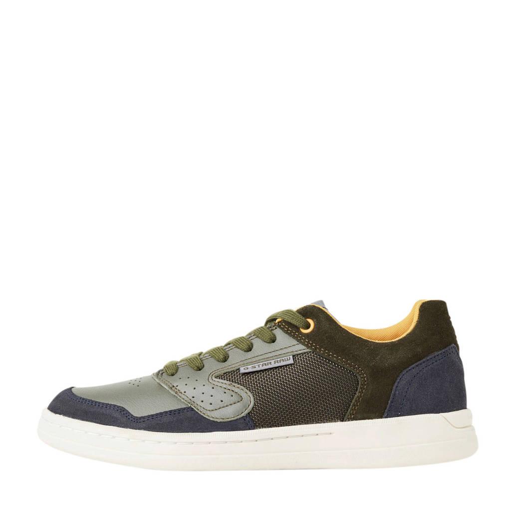 G-Star RAW Mimemis Low  suède sneakers kaki, Kaki/groen